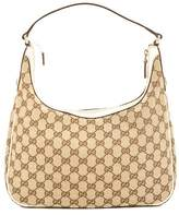 Gucci Ivory Leather GG Monogram Canvas Hobo Bag