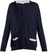 Loewe Logo-trimmed V-neck wool-blend cardigan