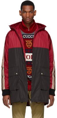 Gucci Red and Black Nylon Logo Stripe Coat