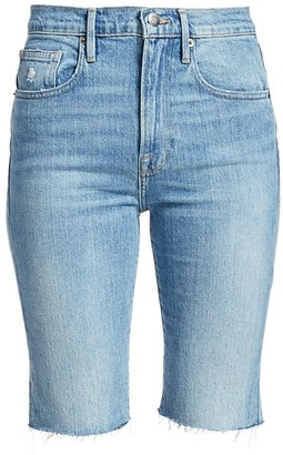 Frame Le Vintage High-Rise Raw-Edge Bermuda Denim Shorts
