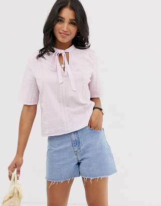 Vila cropped pussybow blouse-Pink