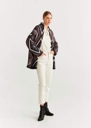 MANGO Chunky knit cardigan purple - XXS-XS - Women