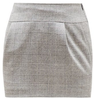 Alexandre Vauthier Prince Of Wales-check Wool-blend Skirt - Womens - Grey Multi