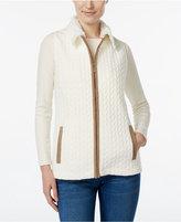 Alfred Dunner Faux-Fur-Collar Jacquard Vest