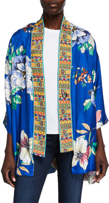 Johnny Was Petite Onyx Reversible Silk Kimono