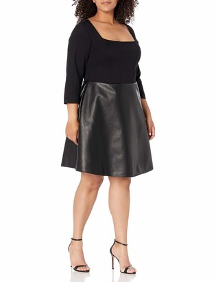 City Chic Women's Apparel Women's Plus Size Scoop Necked Dress with Faux PU a line Skirt
