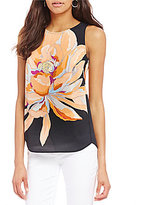 Gibson & Latimer Sleeveles Large Floral Print Blouse