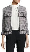 Helene Berman Edge To Edge Ruffle Front Tweed Jacket