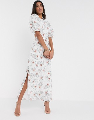 ASOS DESIGN broderie maxi dress with cut out back in floral print