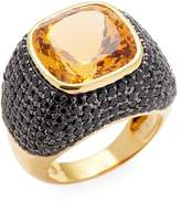 Arthur Marder Fine Jewelry Women's Silver and Vermeil Citrine and Black Spinel Ring