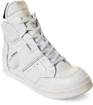 Cinzia Araia White Distressed Leather Mid-Top Sneakers