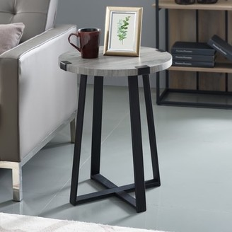 Rustic Wood and Metal Round Dark Concrete End Table by Manor Park