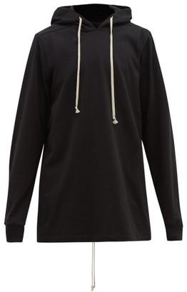 Rick Owens Hooded Cotton-jersey Longline Sweatshirt - Black