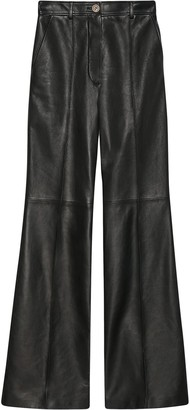 Gucci Leather Flared Trousers