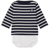 Petit Bateau Babys long-sleeved sailor-style bodysuit