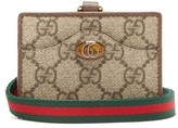 Gucci Ophidia Gg Supreme Coated-canvas Cardholder - Womens - Grey Multi