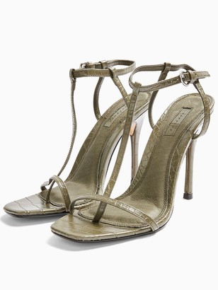Topshop Rhys T-bar High Heel Sandals - Khaki