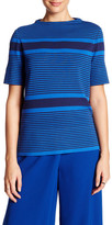 Lafayette 148 New York Short Sleeve Striped Blouse