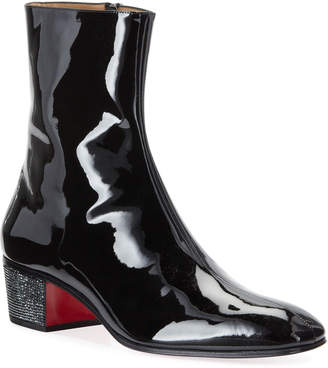 Christian Louboutin Men's Palace Crystal Patent Red Sole Boots