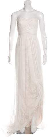Marchesa Strapless Lace Gown