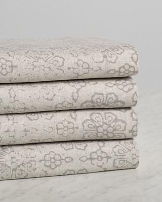 Belle Epoque Distressed Floral Flannel Sheet Set