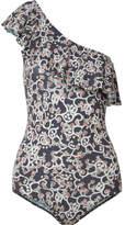 Etoile Isabel Marant Sicilya One-shoulder Cutout Printed Stretch-jersey Bodysuit - Midnight blue