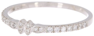 Bony Levy 18K White Gold Pave Diamond Geo Band Ring - Size 6.5