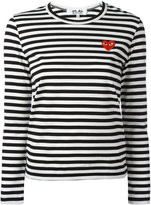 Comme des Garcons logo stamp striped top - women - Cotton - XS