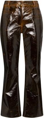 REJINA PYO laminate-effect cropped kick-flare trousers