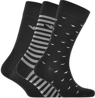 Giorgio Armani Emporio 3 Pack Sock Gift Set Black
