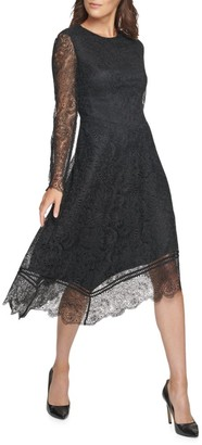 Donna Karan Lace Long-Sleeve Asymmetrical Dress