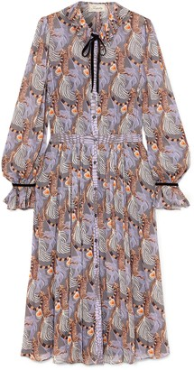 Temperley London Pussy-bow Printed Georgette Midi Dress