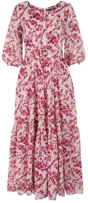 Samantha Sung Anna Forsitha-Print Puff-Sleeve Dress