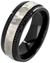 Ring Black Crucible Men's Titanium Plated Hammered Milgrain Ring - Black