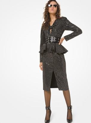 Michael Kors Sequined Stretch Pebble Crepe Peplum Slit-Front Dress