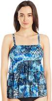 Fit 4 U Women's Scattered Elements Mesh 3 Tier Bandeau Tankini Top