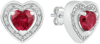 FINE JEWELRY Diamond Accent Lab Created Red Ruby Sterling Silver 11mm Heart Stud Earrings