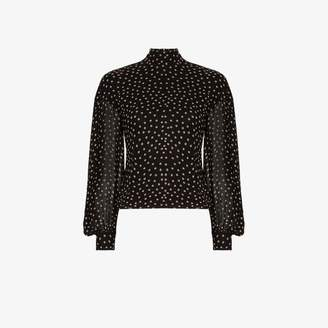Ganni Womens Black Polka Dot Print Blouse