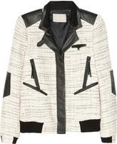 Jason Wu Leather-trimmed tweed bomber jacket