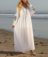 Ananda's Collection Women's Maxi Dresses white - White Sheer Embroidered-Sleeve Maxi Dress - Women