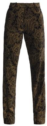 Etro Paisley-brocade Flared Velvet Trousers - Black Gold