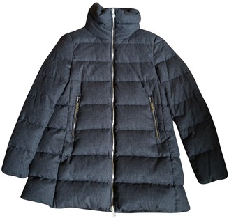 Moncler Long Grey Wool Coat for Women