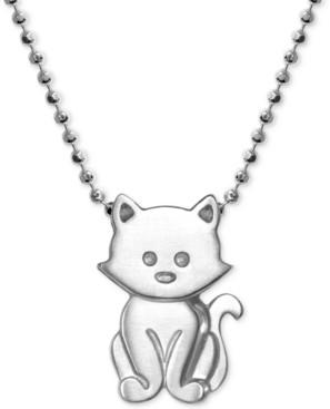 """Alex Woo Kitten 16"""" Pendant Necklace in Sterling Silver"""