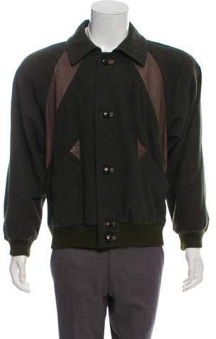 Gucci Wool Leather-Trimmed Jacket