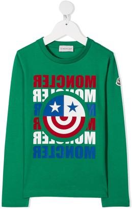 Moncler Enfant Long-Sleeve Cotton T-Shirt