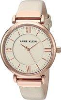 Anne Klein Women's Quartz Metal and Leather Dress Watch, Color:White (Model: AK/2666RGIV)