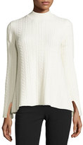 Theory Friselle Cable-Knit Vented Sweater, Ivory
