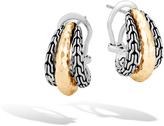 John Hardy Women's Classic Chain Buddha Belly Earring Sterling Silver, Hammered 18K Gold