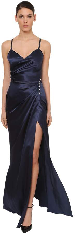 Azzaro Long Silk Satin Dress W/deep Slit