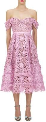 Self-Portrait Self Portrait Off-the-Shoulder 3D Floral Lace Dress